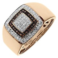 Jewelry Unlimited ,10k,Rose,Gold,Mens,Red,White,Diamond,13mm,Fashion,Pinky,Band,Ring,0.33,Ct