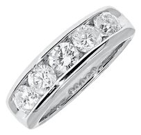 Jewelry Unlimited 14k,White,Gold,Mens,Ladies,Diamond,Channel,Wedding,Anniversary,Band,Ring,1.51,Ct
