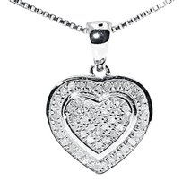 Jewelry Unlimited White,Gold,Finish,Ladies,Round,Pave,Diamond,Dual,Heart,Love,Pendant,Charm,0.33ct
