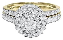 Jewelry Unlimited 14k,Yellow,Gold,Ladies,Solitaire,Diamond,Flower,Engagement,Bridal,Ring,Set,1,Ct