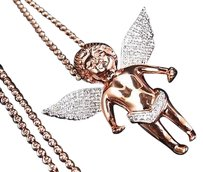Jewelry Unlimited Genuine,Diamond,Chubby,Angel,Pendant,Charm,Chain,0.75,Ct,In,Rose,Gold,Finish