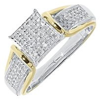 Jewelry Unlimited Two,Tone,Gold,Finish,Round,Pave,Diamond,Square,Engagement,Wedding,Ring,0.50,Ct