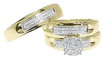 Jewelry Unlimited 10k,Yellow,Gold,Round,Pave,Diamond,Engagement,Bridal,Wedding,Ring,Trio,Set,12ct
