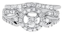 Jewelry Unlimited 10k,White,Gold,Round,Diamond,Solitaire,Halo,Bridal,Engagement,Ring,Set,0.71,Ct