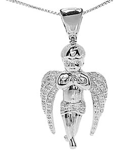 Jewelry Unlimited White,Gold,Finish,Mens,Ladies,Diamond,Praying,Angel,1.2,Charm,Pendant,0.25,Ct