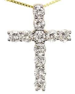 Jewelry Unlimited 14k,Yellow,Gold,Mens,Ladies,Round,Diamond,Cross,Pendant,Charm,2.50ct