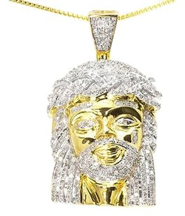 Jewelry Unlimited 10k,Yellow,Gold,Mens,Genuine,Round,Diamond,Mini,Jesus,1.5,Charm,Pendant,1.0,Ct