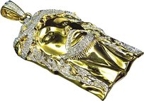 Jewelry Unlimited Solid,10k,Yellow,Gold,Authentic,Diamond,Jesus,Piece,Pendant,Charm,2.5,1.80,Ct