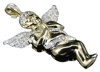 Jewelry Unlimited Mens,Ladies,10k,Yellow,Gold,Mini,Angel,Cherub,Jesus,Diamond,Pendant,.75,Ct