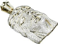 Jewelry Unlimited 10k,Yellow,Gold,Mens,Mini,Jesus,Face,Head,Full,Diamond,Piece,Pendant,Charm,6,Ct