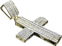 Jewelry Unlimited Mens,Ladies,10k,Yellow,Gold,Pave,Diamond,Mini,Micro,Cross,Pendant,Charm,.91,Ct