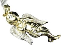 Jewelry Unlimited Mens,Ladies,Yellow,Gold,Mini,Angel,Cherub,Jesus,2,Inch,Diamond,Pendant,12,Ct