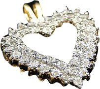 Jewelry Unlimited Ladies,Yellow,Gold,Finish,Diamond,Heart,Love,Charm,Pendant,.05,Ct