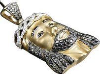 Jewelry Unlimited Yellow,Gold,Finish,2,Inch,Diamond,Jesus,Face,Piece,Heavy,Head,Pendant,Charm