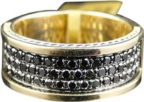 Jewelry Unlimited Mens,Yellow,Gold,Round,Cut,Black,Diamond,Pave,Designer,Band,Ring,1.40,Ct