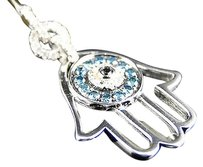 Jewelry Unlimited Ladies,10k,White,Gold,Real,Diamond,Hamsa,Hand,Evil,Eye,Pendant,Charm,12,Ct