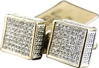 Jewelry Unlimited Mens,Ladies,10k,Yellow,Gold,9mm,Diamond,Pave,Mini,3d,Block,Stud,Earrings,0.50ct