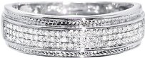 Jewelry Unlimited Mens,White,Gold,Finish,6mm,Pave,Round,Genuine,Diamond,Wedding,Band,Ring,0.40ct