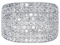 Jewelry Unlimited 10k,White,Gold,Mens,Round,Diamond,15mm,Xl,Fashion,Pinky,Wedding,Band,Ring,3.5ct