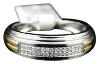 Jewelry Unlimited Mens,White,Gold,Finish,Round,Cut,Two,Tone,Diamond,Wedding,Band,Ring,6.8,Mm,.2,Ct