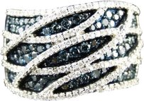 Jewelry Unlimited ,Xl,Ladies,10k,White,Gold,Bluewhite,Diamond,Fashion,Wedding,Band,Ring,1.25ct