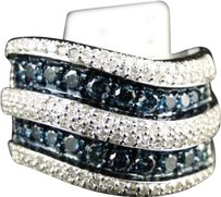 Jewelry Unlimited ,Xl,Ladies,10k,White,Gold,Bluewhite,Diamond,Fashion,Wedding,Band,Ring,1.27ct