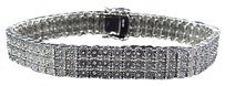Jewelry Unlimited Mens,Ladies,White,Gold,Finish,Round,Cut,Real,3,Row,11mm,Diamond,Bracelet,8.5,In