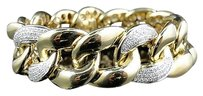 Jewelry Unlimited Mens,Pave,Set,10k,Yellow,Gold,Diamond,8.5,Inch,Miami,Cuban,Link,Bracelet,6.5ct