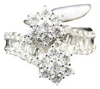Jewelry Unlimited 14k,White,Gold,Ladies,Round,Cut,Diamond,Cluster,Fashion,Wedding,Band,Ring,1.36,C