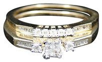 Jewelry Unlimited Ladies,10k,Yellow,Gold,Princess,Cut,Diamond,Engagement,Wedding,Bridal,Dual,Ring