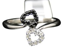 Jewelry Unlimited Ladies,White,Gold,Finish,Black,White,Diamond,Fashion,Heart,Promise,Love,Ring,14