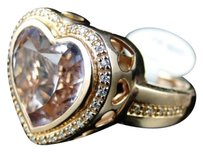 Jewelry Unlimited 14k,Rose,Gold,With,Diamond,And,Purple,Amethyst,Heart,Fashion,Engagement,Ring