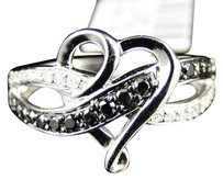 Jewelry Unlimited 10k,Ladies,White,Gold,Black,And,White,Heart,Diamond,Fashion,Promise,Band,Ring