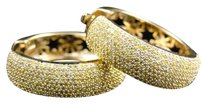 Jewelry Unlimited 10k,Yellow,Gold,Womens,Ladies,Canary,Yellow,Pave,Diamond,Hoop,Huggie,Earrings