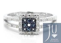 Jewelry Unlimited Ladies White Gold Finish Pave Real Blue Diamond Engagement Fashion Designer Ring