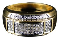 Other Mens Yellow Gold Finish Genuine Diamond Pinky Ring Band 1/10 Ct