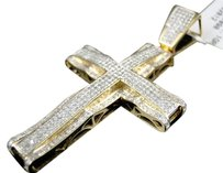 Jewelry Unlimited. Mens,10k,Yellow,Gold,Pave,Diamond,Cross,Designer,Pendant,Charm,2.2,Inch,1.5,Ct