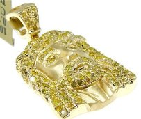 Jewelry Unlimited 10k,Yellow,Gold,Canary,Jesus,Mini,Micro,Diamond,Pendant,Charm,1,Inch