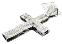 Jewelry Unlimited. Mens,10k,White,Gold,Pave,Diamond,Cross,Designer,Pendant,Charm,2.2,Inch,1.5,Ct