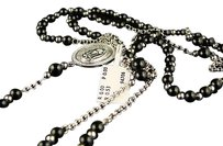Jewelry Unlimited 10k,White,Gold,Rosary,Diamond,Necklace,Chain,Onyx,36,In