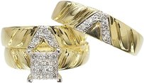 Jewelry Unlimited 14k,Yellow,Gold,Mens,Ladies,Pave,Diamond,Trio,Wedding,Engagement,Ring,Set,0.50ct
