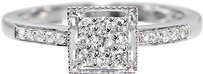 Jewelry Unlimited 10k,White,Gold,Ladies,Round,Diamond,Square,Shape,Engagement,Wedding,Ring,0.25ct