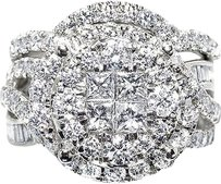 Jewelry Unlimited 14k,White,Gold,Ladies,Xl,Cluster,Diamond,Bridal,Wedding,Engagement,Ring,Set,3ct