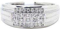 Jewelry Unlimited Mens,14k,White,Gold,10,Mm,Diamond,Engagement,Wedding,Band,Fashion,Ring,.47,Ct