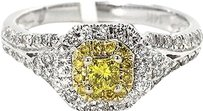 Jewelry Unlimited Ladies,Canary,Princess,And,Round,Diamond,Halo,Engagement,Ring,In,14k,White,Gold