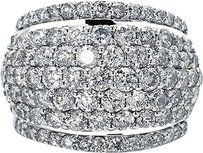 Jewelry Unlimited Ladies,Round,Cut,Pave,Set,Diamond,Fashion,Dome,Ring,In,14k,White,Gold,4.05,Ct
