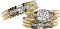 Jewelry Unlimited 10k,Yellow,Gold,Round,Diamond,Engagement,Bridal,Wedding,Ring,Trio,Set,1.0ct