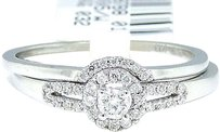 Jewelry Unlimited 14k,White,Gold,Round,Cut,Engagement,Bridal,Halo,Band,Diamond,Ring,0.21,Ct
