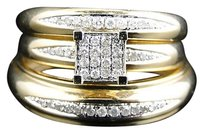 Jewelry Unlimited 10k,Yellow,Gold,Round,Cut,Diamond,Engagement,Bridal,Wedding,Ring,Trio,Set,12,Ct