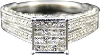 Jewelry Unlimited Ladies,10k,White,Gold,Princess,Cut,Diamond,Engagement,Wedding,Bridal,Ring,.52,Ct